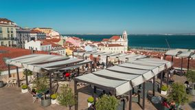 Lisbon Portugal square tent motion timelaspe city summer 4k. 4k Lisbon Portugal motion timelaspe square city centre hyperlapse summer sun bright vacations stock footage