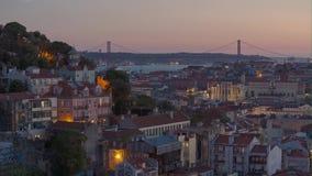 4k Lisbon Portugal night streets lights sunset. 4k Lisbon Portugal motion timelaspecity centre hyperlapse UHD summer night bright vacations moon streets stock footage