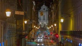 4k Lisbon Portugal night streets lights sunset. 4k Lisbon Portugal motion timelaspecity centre hyperlapse UHD summer night bright vacations moon streets stock video