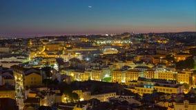4k Lisbon Portuga ltimelaspe night streets lights sunset. 4k Lisbon Portugal motion timelaspecity centre hyperlapse UHD summer night bright vacations moon stock video