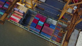 4K loading cargo container from ship