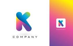 K Logo Letter With Rainbow Vibrant Mooie Kleuren K Kleurrijk T Stock Foto