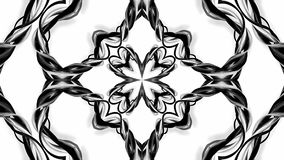 4k loop animation with black and white ribbons are twisting and form complex structures as kaleidoscopic effect. 56. 4k loop animation with black and white vector illustration