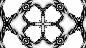 4k loop animation with black and white ribbons are twisting and form complex structures as kaleidoscopic effect. 20. 4k loop animation with black and white stock illustration