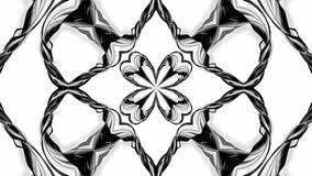 4k loop animation with black and white ribbons are twisting and form complex structures as kaleidoscopic effect. 53. 4k loop animation with black and white royalty free illustration