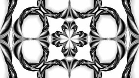 4k loop animation with black and white ribbons are twisting and form complex structures as kaleidoscopic effect. 64. 4k loop animation with black and white royalty free illustration