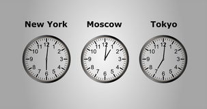 4K loopable τηλεοπτική ζωτικότητα του χρόνου στη διαφορετική πόλη τρία Timelapse διανυσματική απεικόνιση
