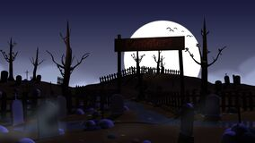 Cartoon cemetery at night with moon