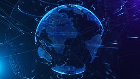 4K loopable 3d animation of a spinning globe with a growing global network