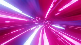 4k looped abstract high-tech tunnel with neon lights, camera flies through tunnel, purple neon lights flicker. Sci-fi