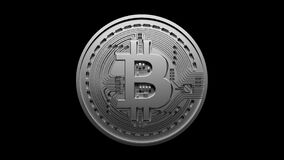 4k Bitcoin Crypto Currency Logo,3D btc coin finance business,Light changes.