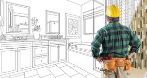 4k Looping Clip of Contractor in Hard Hat Facing Drawing of Bathroom Design Transitioning to Photo