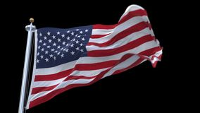 4k looping flag of usa with flagpole waving in wind.alpha channel included. Looping flag of usa with flagpole waving in wind.A fully digital rendering,The stock video