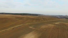 4K Lot i start nad świeżo kultywujący pola w wiośnie, widok z lotu ptaka zbiory