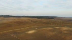 4K Lot nad świeżo kultywujący pola w wiośnie, widok z lotu ptaka zbiory wideo