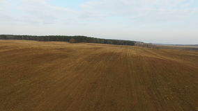 4K. Low flight and takeoff above freshly cultivated fields in spring, aerial panoramic view stock footage