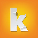 K lowercase letter fold english alphabet New design. The new design of the English alphabet, k Lowercase letter was folded paper some of the letters. Adapted Stock Images