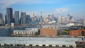 4k luchtvideo van Darling Harbour in Sydney stock footage