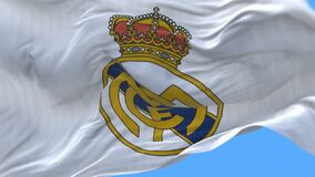 4k Madrid,Spain,champion league flag of Real Madrid C.F.football club,editorial use only.