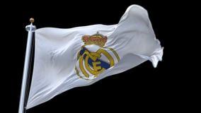 4k Madrid, Spanje, de vlag van de kampioensliga van Real Madrid C F voetbalclub, redactie slechts gebruik stock videobeelden