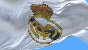 4k Madrid, Spanje, de vlag van de kampioensliga van Real Madrid C F voetbalclub, redactie slechts gebruik stock video