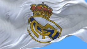 4k Madryt, Hiszpania, mistrza liga Real Madrid C flaga f futbolu klub, redakcyjny use tylko zbiory wideo