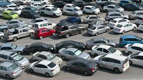 4K Many car at parking lot viewed from above