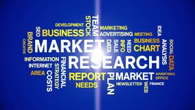 4k Market Research Animated Tag Word Cloud,Text Design Animation seamless loop.
