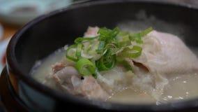 4K mensen die de soep van de Ginsengkip in een restaurant van Busan eten, Zuid-Korea stock video
