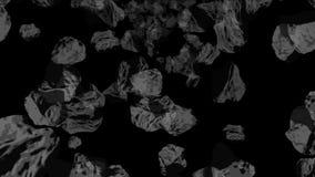 4k meteorytu kopalnictwa kamienia bębnowania przestrzeni wszechświat, węglowe rudne gruz cząsteczki royalty ilustracja
