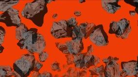 4k meteorytu kopalnictwa kamienia bębnowania przestrzeni wszechświat, węglowe rudne gruz cząsteczki ilustracji