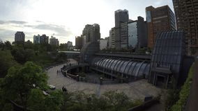 4K The Metro Daan Park Station in Taipei city, Cityscape sunset of Taiwan stock video