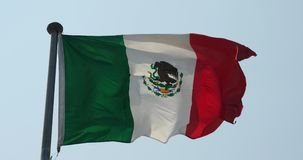 4k mexico flag is fluttering in wind. stock footage
