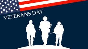 4K Militäroffizier Silhouette Soldier Salute, amerikanische USA-Flagge, Uniform stock abbildung