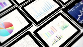 4k mobile devices, finance pie charts & stock trend diagrams in the ipad. 4k mobile devices, finance pie charts & stock trend diagrams in the ipad vector illustration