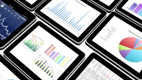4k mobile devices, finance pie charts & stock trend diagrams in the ipad. 4k mobile devices, finance pie charts & stock trend diagrams in the ipad royalty free illustration
