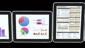 4k Mobile devices,finance pie charts & stock trend diagrams in the ipad. Cg_03380_4k vector illustration