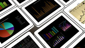 4k Mobile devices,finance pie charts & stock trend diagrams in the ipad. Cg_03384_4k vector illustration