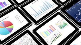 4k Mobile devices,finance pie charts & stock trend diagrams in the ipad. Cg_03371_4k vector illustration
