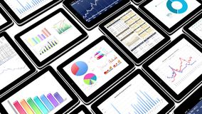 4k Mobile devices,finance pie charts & stock trend diagrams in the ipad. Cg_03378_4k vector illustration