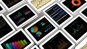 4k Mobile devices,finance pie charts & stock trend diagrams in the ipad. Cg_03385_4k royalty free illustration