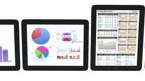 4k Mobile devices,finance pie charts & stock trend diagrams in the ipad. Cg_03381_4k royalty free illustration