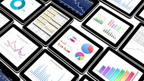 4k Mobile devices,finance pie charts & stock trend diagrams in the ipad. Cg_03379_4k royalty free illustration