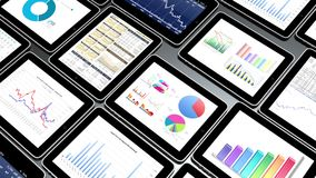 4k Mobile devices,finance pie charts & stock trend diagrams in the ipad. 4k Mobile devices,finance pie charts & stock trend diagrams in the ipad stock illustration