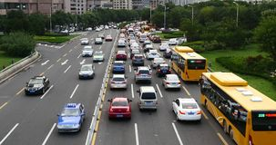 4k Modern urban city busy heavy traffic jams,A lot of cars on highway street. Transportation travel road.  gh2_08355_4k stock video
