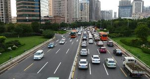 4k Modern urban city busy traffic jams,highway street &business houses building. stock video