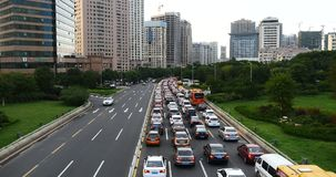 4k Modern urban city busy traffic jams,highway street &business houses building. stock footage