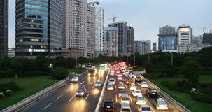 4k Modern urban city busy traffic jams, highway street timelapse&houses building.