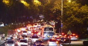 4k Modern urban city busy traffic jams night,highway street&congestion building. stock footage
