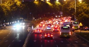 4k Modern urban city busy traffic jams night,neon highway street&building. 4k Modern urban city busy traffic jams night,neon light highway motorway street& stock video footage